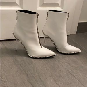 """Alexander Wang 4"""" heel white leather boots"""